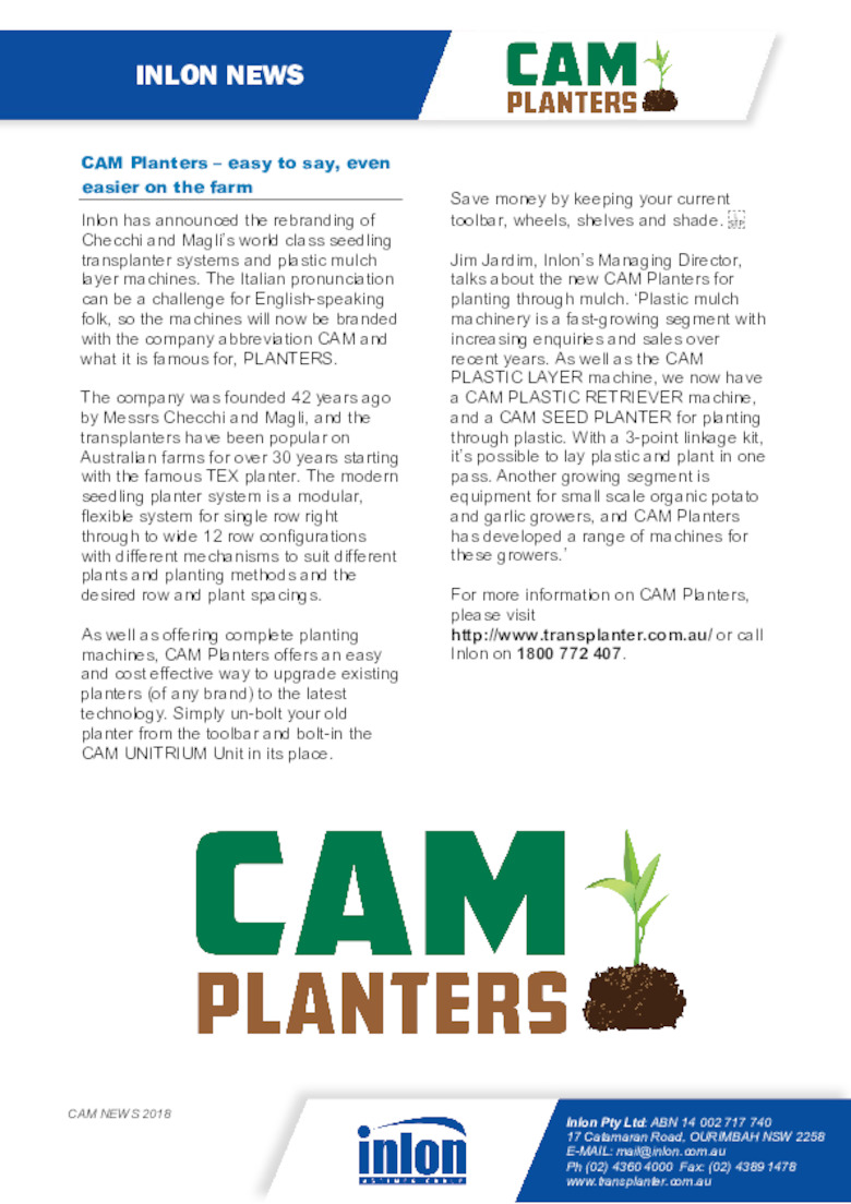 CAM Planters - Easy to say, easier to use
